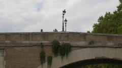 People taking pictures on Ponte Fabricio in Rome Stock Footage