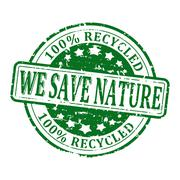 Scratched round green stamp with the words -  we save nature,100% recycled - - stock illustration