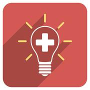 Creative Medicine Bulb Flat Rounded Square Icon with Long Shadow Stock Illustration