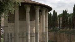 View of Tempio di Ercole Vincitore in Piazza della Bocca della Verita, Rome Stock Footage
