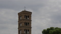 Tower of Santa Maria in Cosmedin in Rome Stock Footage