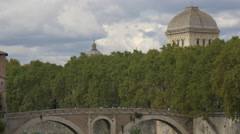 View of Ponte Fabricio and Tempio Maggiore di Roma dome in Rome Stock Footage