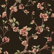 Watercolor raster sakura pattern - stock illustration