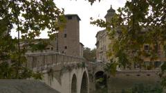 Ponte Fabricio, Chiesa di San Giovanni Calibita and Ospedale Israelitico in Rome Stock Footage