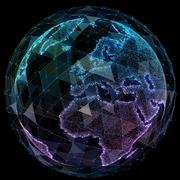 Global network internet technologies. Digital world map Piirros