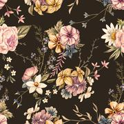 Raster watercolor floral pattern - stock illustration
