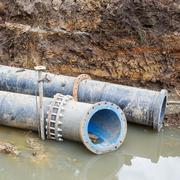 Sewer pipe installation Stock Photos