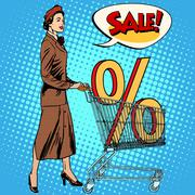 Buyer discounts sale grocery cart - stock illustration