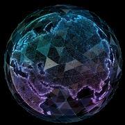 Global network internet technologies. Digital world map Piirros