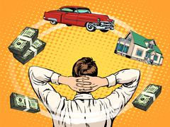 Business dreams buyer home car income money - stock illustration