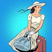 The girl passenger Luggage Stock Illustration
