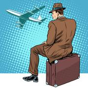 Passenger the airport waiting for departure Stock Illustration