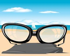 Spectacles on beach - stock illustration