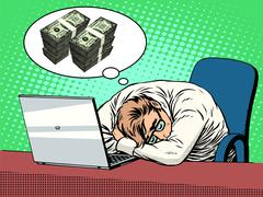 Businessman dreams of money Stock Illustration