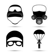 Military Icons. Vector set isolated on white Stock Illustration