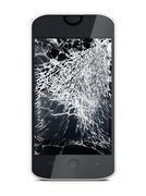 Smartphone with broken screen - stock illustration