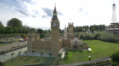 Big Ben and Westminster Palace displayed at the Mini-Europe, Brussels Stock Footage