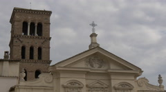 Church tower and top of San Bartolomeo all'Isola church in Rome Stock Footage