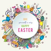 Colorful happy easter greeting card in vector Stock Illustration