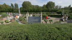Walking and relaxing next to the scale models at the Mini-Europe, Brussels Stock Footage