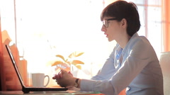 ambition businesswoman typing on her laptop - stock footage