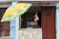 Stock Photo of Cuba, Butcher's shop, Santiago de Cuba