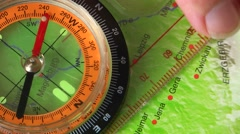 tracing a route with compass - stock footage