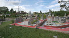 Admiring the Veere and Alkmaar from The Netherlands at the Mini-Europe, Brussels Stock Footage