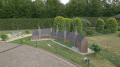 Imposing building with towers displayed at the Mini-Europe, Brussels Stock Footage
