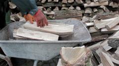 Wheelbarrow wood Stock Footage