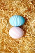Two painted eggs Stock Photos