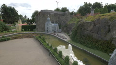 Notre Dame de Dinant displayed at the Mini-Europe, Brussels Stock Footage