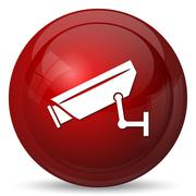 Stock Illustration of Surveillance camera icon. Internet button on white background..
