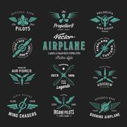 Vintage Vector Airplane Labels Set with Retro Typography. Shabby Texture on Dark Stock Illustration