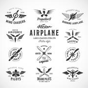 Vintage Vector Airplane Labels Set with Retro Typography. Isolated - stock illustration