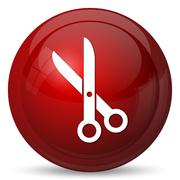 Cut icon. Internet button on white background.. - stock illustration