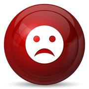 Stock Illustration of Sad smiley icon. Internet button on white background..