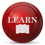 Stock Illustration of Learn icon. Internet button on white background..