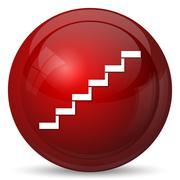 Stairs icon. Internet button on white background.. Piirros
