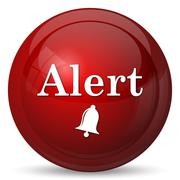 Alert icon. Internet button on white background.. - stock illustration