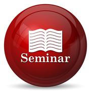 Seminar icon. Internet button on white background.. - stock illustration