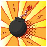 Pop art bomb - stock illustration