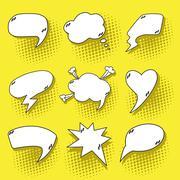 Pop art speech bubbles set Stock Illustration
