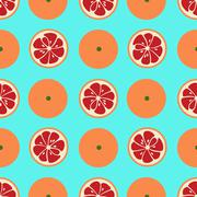 Stock Illustration of Cute seamless pattern with red grapefruit slices on blue background
