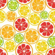 Striped seamless pattern with lime, orange and grapefruit Stock Illustration