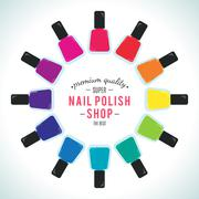 Nail polish women accessories set in a palette - stock illustration