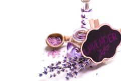 Aromatherapy oil and lavender, spa,  healthy concept Stock Photos