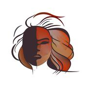 Abstract imitation of Japanese mask black and red - stock illustration