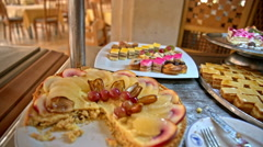 Cake and sweets in self-service restaurant Stock Footage