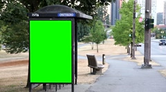 Green billboard for your ad at bus station Stock Footage